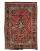 Vintage Red Hand Knotted Oriental Wool Traditional Floral Classic Area Rug 10x13