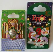 Figment Pins Holidays Around The World 2009 2013 Disney Lot Of 2 -new On Cards
