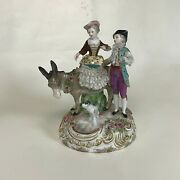 19th Century Meissen Porcelain Laced Figurine Of Couple W/ Donkey And Dog