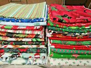 Lot Of Christmas Cotton Print Fabric 24 Yards In 1 Yard Cuts 8 Lbs Mixed Brands