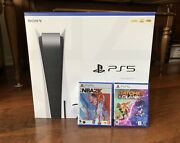 Playstation Ps5 Bundle 825gb Disc Version Nba2k22 And Ratchet Clank New In Hand
