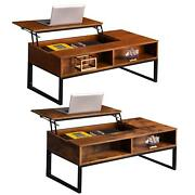New Lift Top Coffee Table With Storage Wood Hidden Compartment Shelves Furniture