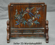7.8 Old China Huanghuali Wood Inlay Shell Dynasty Flower Birds Folding Screen