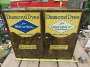 Vintage / Antique Diamond Dyes 1930s Tin Lithographed Cabinet Lots Of Graphics