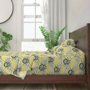 Bee Yellow Black White Bugs Bumble Hand 100 Cotton Sateen Sheet Set By Roostery