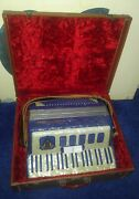 Vintage Masterfonic Piano/button 2-stop/-register Accordion, Pearl-/marble-blue