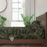 Splinter Camo Green + Camouflage 100 Cotton Sateen Sheet Set By Roostery