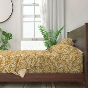 Bee Garden Bees Bugs Mustard Flowers 100 Cotton Sateen Sheet Set By Roostery