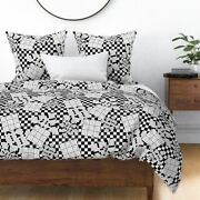 Puzzles Games Crossword Sudoku Black White Puzzle Sateen Duvet Cover By Roostery