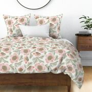 Farmhouse Garden Watercolor Floral Barn Wood Sateen Duvet Cover By Roostery