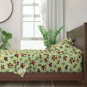Dragonfly Floral Pansy Bugs Filigree 100 Cotton Sateen Sheet Set By Roostery