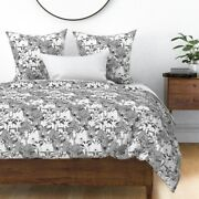 Goat Ink Illustration Animals Horns Monochrome Sateen Duvet Cover By Roostery