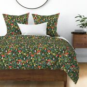 Woodland Red Mushroom Garden Gnome Summer Floral Sateen Duvet Cover By Roostery