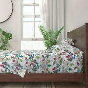 Bugs Fauna Insects Watercolor Tropical 100 Cotton Sateen Sheet Set By Roostery