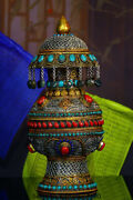 12.8 Old Tibet Nepal Silver Wire Inlay Turquoise Coral Gem Treasure Bottle Vase