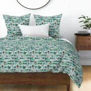Wood Snow Deer Xmas Holiday Nordic Sateen Duvet Cover By Roostery