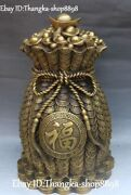 China Pure Bronze Wealth Money Coin Yuanbao Blessing Piggy Bank Can Canister