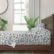 Mod Mushrooms Illustrated Bugs 100 Cotton Sateen Sheet Set By Roostery