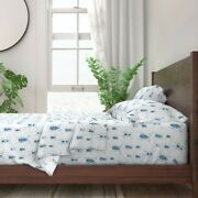 Blue Beetle Toile Summer Bugs Animals 100 Cotton Sateen Sheet Set By Roostery