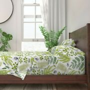 Beetles Greenery Spring Bugs Leaves 100 Cotton Sateen Sheet Set By Roostery