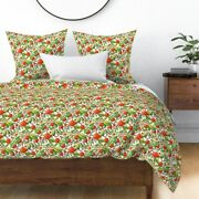 Persimmons Persimmon Tree Fruit Food Sweet Leaves Sateen Duvet Cover By Roostery