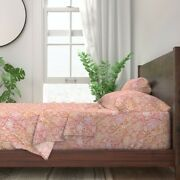 Floral Paper Spring Flowers Bugs 100 Cotton Sateen Sheet Set By Roostery