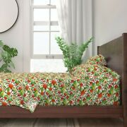 Persimmons Persimmon Tree Fruit Food 100 Cotton Sateen Sheet Set By Roostery
