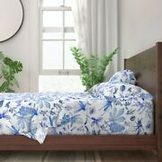 Nature Bugs Botanical Blue Chinoiserie 100 Cotton Sateen Sheet Set By Roostery