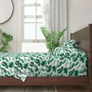 Tropic Tropical Leaves Aloha Greenery 100 Cotton Sateen Sheet Set By Roostery