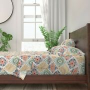 Gold And Blue Floral Daimond Pysanky 100 Cotton Sateen Sheet Set By Roostery