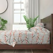 Grey Silver Bird Feathers Coral 100 Cotton Sateen Sheet Set By Roostery