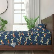 Christmas Carousel Horses On Blue 100 Cotton Sateen Sheet Set By Roostery