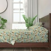 Bicycle Cute Watercolor Painting Leaves 100 Cotton Sateen Sheet Set By Roostery