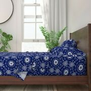 Midnight Blue Floral White Pysanky 100 Cotton Sateen Sheet Set By Roostery