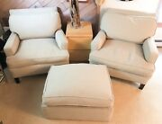 Maison Art Mid Century Modern Club Chairs And Ottoman Recently Re-upholstered