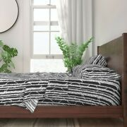 Birch Tree Woodland Brown White 100 Cotton Sateen Sheet Set By Roostery