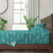 Dragonflies Insects Bugs Aqua Verdigris 100 Cotton Sateen Sheet Set By Roostery