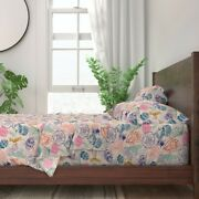 Pollinators Peonies Bugs Insect Garden 100 Cotton Sateen Sheet Set By Roostery