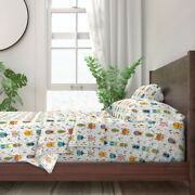 Beetles Bugs Color Insects Animals 100 Cotton Sateen Sheet Set By Roostery