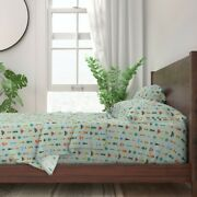 Pretty Folksy Bugs Insects Moths Beetle 100 Cotton Sateen Sheet Set By Roostery