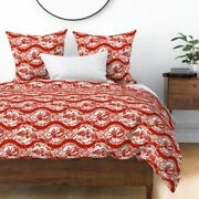 Christmas Bird Fairy Tale Danish Illustration Red Sateen Duvet Cover By Roostery