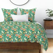 Strelitzia Plumeria Tropical Hibiscus Jungle Sateen Duvet Cover By Roostery