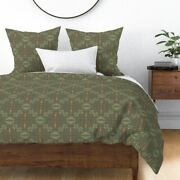 Fire Hand-painted Khaki Gold Hygge Firelight Sateen Duvet Cover By Roostery