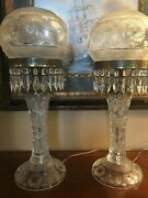 Antique American Brilliant Crystal Hand Cut Glass Table Lamps With Prisms