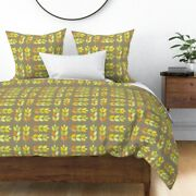 Autumn Leaves Fall Foliage Corn Stalks Orange Sateen Duvet Cover By Roostery