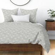 Farmhouse Grey Greige Stripes Dash Mudcloth Sateen Duvet Cover By Roostery