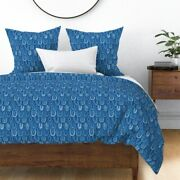 Blue Pysanky Aqua Scales Abstract Geometric Geo Sateen Duvet Cover By Roostery