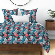 Pysanky Egg Easter Blue Red Holiday Sateen Duvet Cover By Roostery