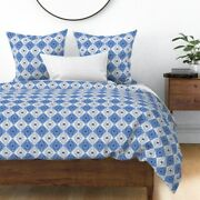 Pysanky Geometric Blue Folk Art Abstract Squares Sateen Duvet Cover By Roostery