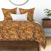 Christmas Gingerbread Houses Holiday Baking Sateen Duvet Cover By Roostery
